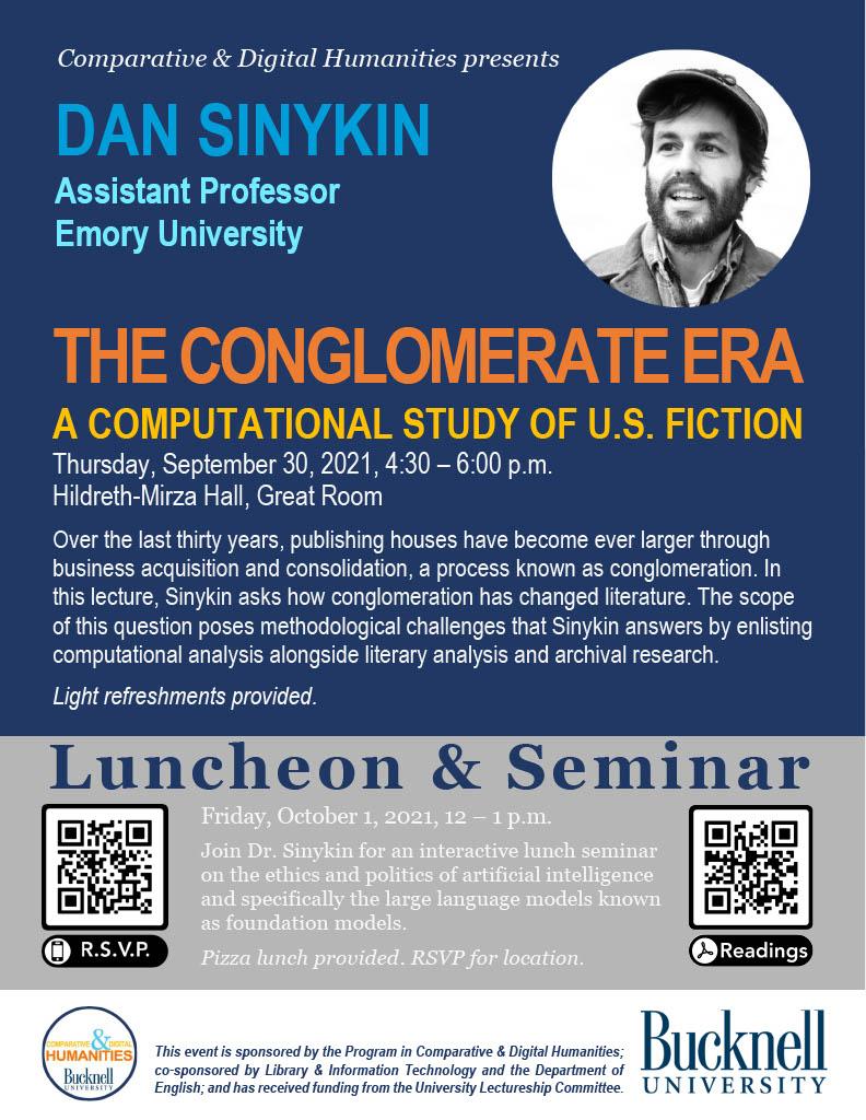 Poster for Dan Sinykin talk at Bucknell on September 30, 2021